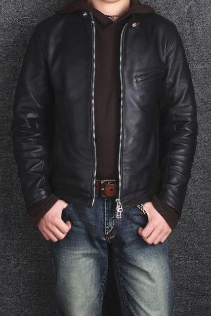 2016 men's clothing sheep skin jacket motorcycle slim genuine leather jacket