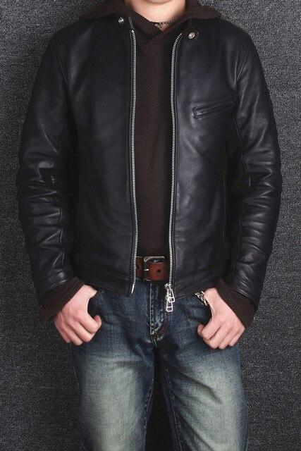 2016 ropa de los hombres de piel de oveja chaqueta de la motocicleta chaqueta de cuero genuino delgado