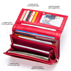Image 3 - Contact en cuir véritable femmes portefeuille femme porte monnaie Portomonee pince pour sac dargent porte carte téléphone poche longs portefeuilles