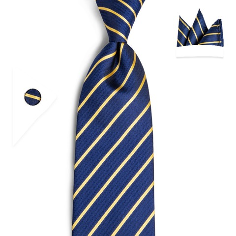 DiBanGu Striped Men Tie Blue Hanky Cufflinks Sets Mens Silk Wedding Tie For Men 160cm Length 8.5cm Tie Business Party Cravatte Multan