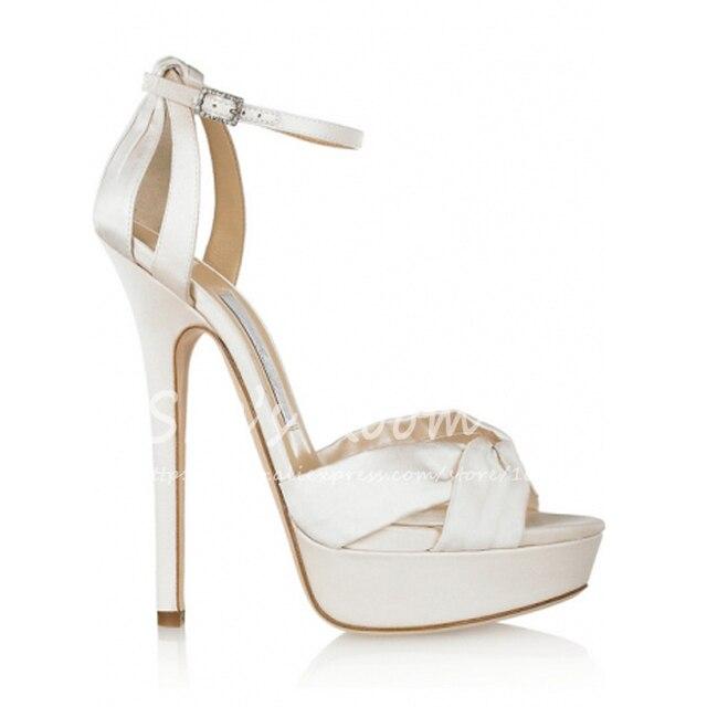 025656be297 Wholesale brand fashion design white satin platform sandals ankle strap  sandals women high heel sandals fairy wedding shoes K027