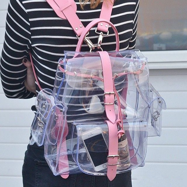 2018 harajyuku cute Clear Plastic See Through Transparent Backpack women  girl student travel Bag satchel PVC 4c8a5bdb9274f