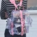 2016 harajyuku bonito Plástico Transparente Ver Através Transparente mulheres Mochila menina estudante Bolsa de viagem mochila saco de Livro Da Escola PVC