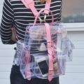2016 harajyuku lindo Plástico Transparente Opacidad Transparente mujeres chica estudiante Mochila Bolsa de viaje PVC bolso de Libro de Escuela de la taleguilla