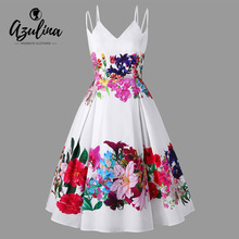 AZULINA Plus Size Floral Double Straps A-Line Dress Sleeveless Hepburn Vintage Dresses Vestidos Spaghetti Strap Party Dress 2018