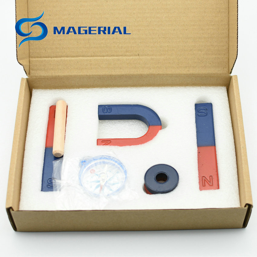 2 sets Magnetic Teaching Tool Kit Horseshoe Magnet U type and compass with two rings two bar magnet / Toy magnet teaching magnet tool kit new pack incl horseshoe u type and compass ring bar rod magnets toy magnet for teaching and experiment