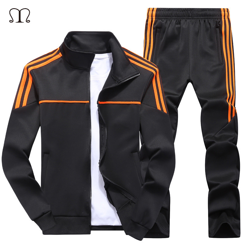 Men's Jogging Sets Fashion Autumn Sporting Suit Casual Zipper Sweatshirt +Sweatpants Mens Clothing 2 Pieces Sets Slim Tracksuit