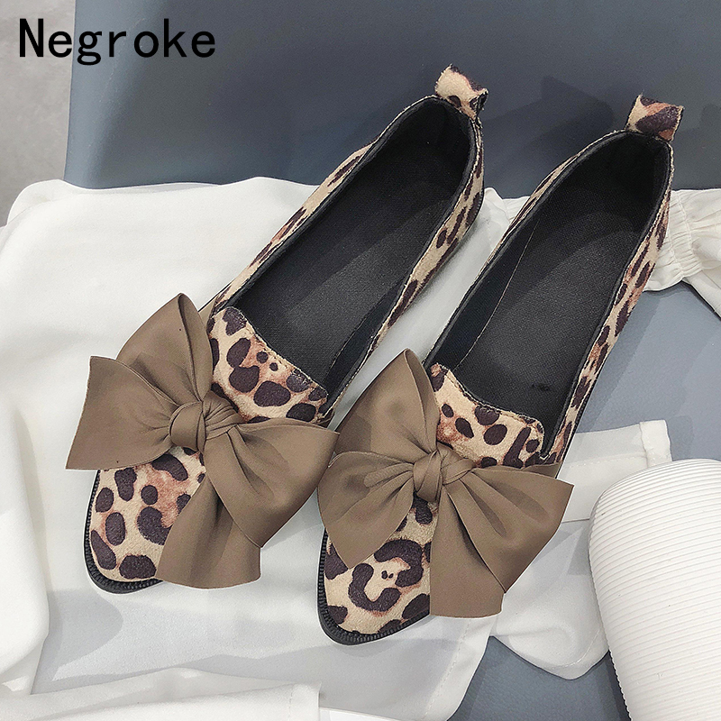 2019 Classic Brand Flats Casual Shoes Women Bowknot Loafers Sexy Leopard Oxford Slip On Moccasins Female   Suede     Leather   Footwear