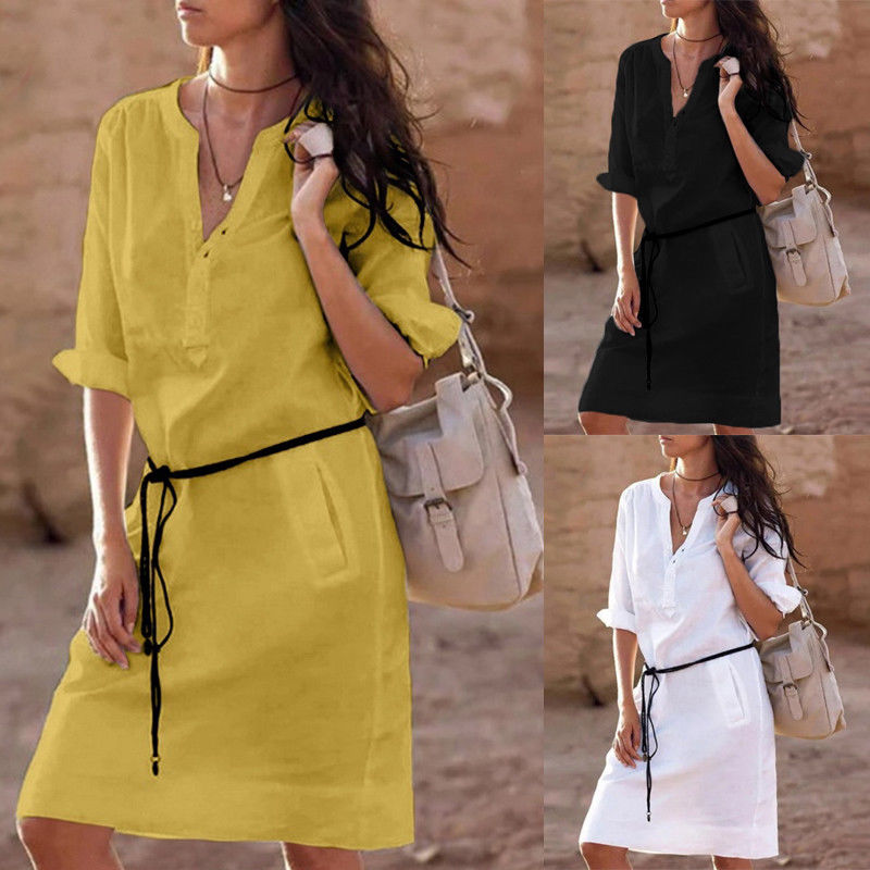 Women Boho Comfortable Casual Loose Cotton Dress Ladies Pockets V-Neck Bandage Vestidos Plus Size Mini Dresses Sundress