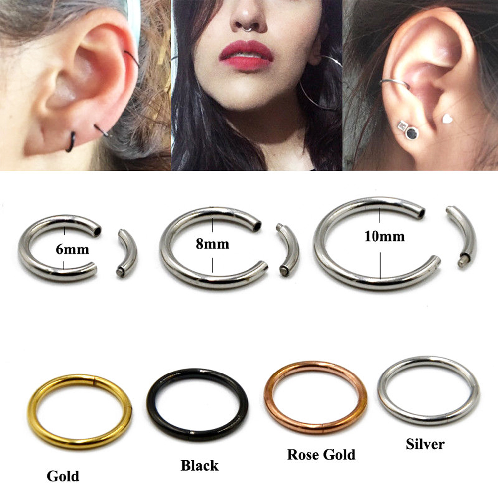 1Pc Steel Segment Nose Ring...