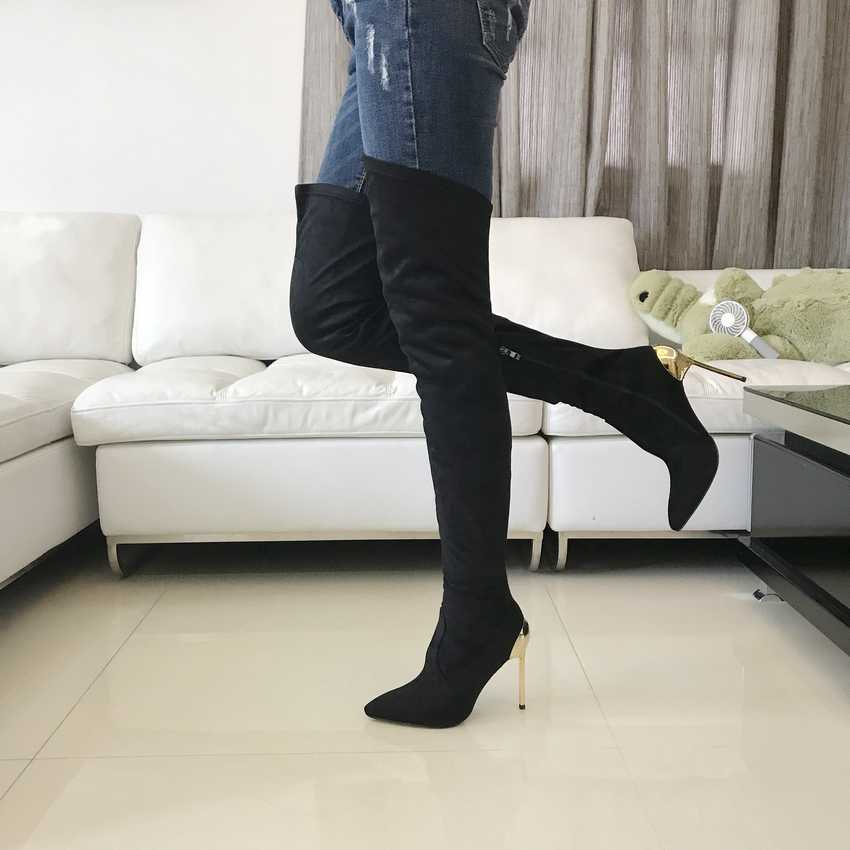 Kadın Diz Üzerinde Çizmeler Süet Uyluk Yüksek Çizmeler için 2018 Sonbahar Kış Bayanlar Moda Yüksek Topuklu Bot Ayakkabı Kadın