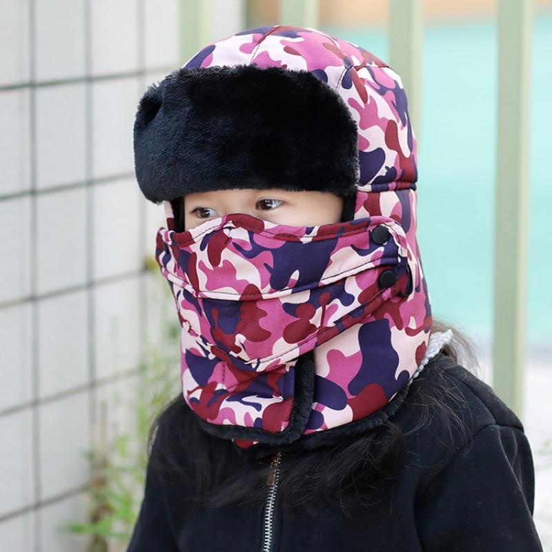 Fur Hat Russian-Hats Winter Camouflage Mask Earflap Girls Boys Kids New Warm Child