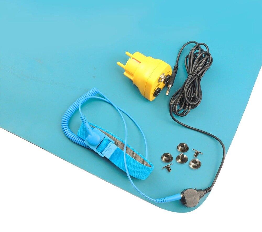 лучшая цена Free shipping Aidacom Antistatic ESD Mat Dull Finish 2 layer Blue Color 1PC EU Earth bonding plug ESD Wrist Strap Grounding cord