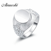 AINUOSHI Free Shipping 925 Sterling Silver Ring Fine Fashion Plain Oval Shaped Ring Men Gift Silver Fashion Jewelry Finger Rings