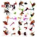KKWEZVA 36 unids piezas señuelo de pesca mantequilla mosca insectos diferentes estilos de moscas de salmón trucha simple mosca seca Señuelos de Pesca aparejos de pesca