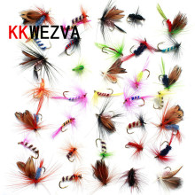 Купить с кэшбэком 36pcs Promotion Fly fishing Hooks  Butterfly Insects Style Salmon Flies Trout Single Hook Dry Fly Fishing Lure Fishing Tackle