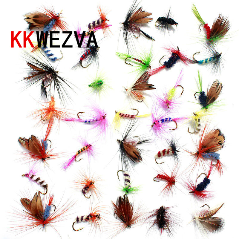 KKWEZVA 36pcs Fly fishing Lure Hooks Butterfly Insects Style Salmon Flies Trout Single Dry Fly Fishing Lures Fishing Tackle