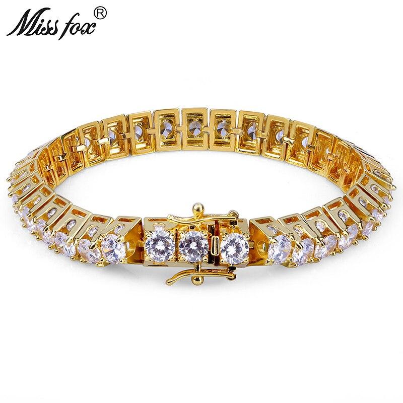 MISSFOX Hiphop Men 10mm Big CZ Diamond Cuba Bracelets Bangles 18K Gold Argent Brazalete Hombre 1