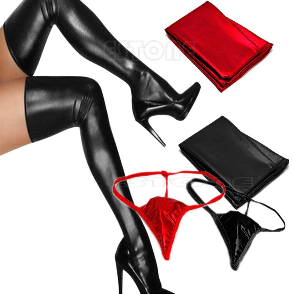 Sexy Fashion Women Spandex Latex Rubber Long Stockings Thigh Tights Hosiery