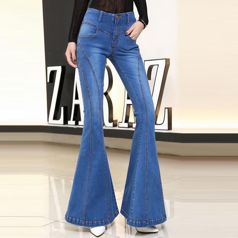 Azul Slim Alta Verano Para Casual Mujer Estiramiento Flare Mezclilla Calidad Algodón 2018 Estilo Pantalones Vaqueros De Big Europeo qBwAPTq