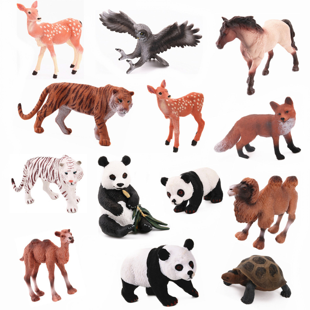 REikirc 13PCS/Set Chinese Animals Horse Tiger Fox Camel Panda Deer Owl Tortoise Model Figurine Toy For Chidren Gift