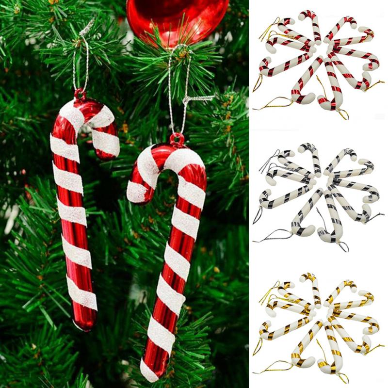 10 pcs christmas canes christmas tree decorations for home party new year christmas candy cane xmas tree hanging ornaments in pendant drop ornaments from