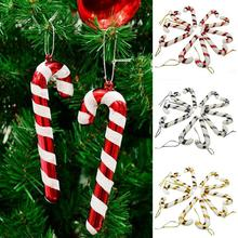 10 pcs Christmas Canes Christmas Tree Decorations for Home Party New Year Christmas Candy Cane Xmas Tree Hanging Ornaments