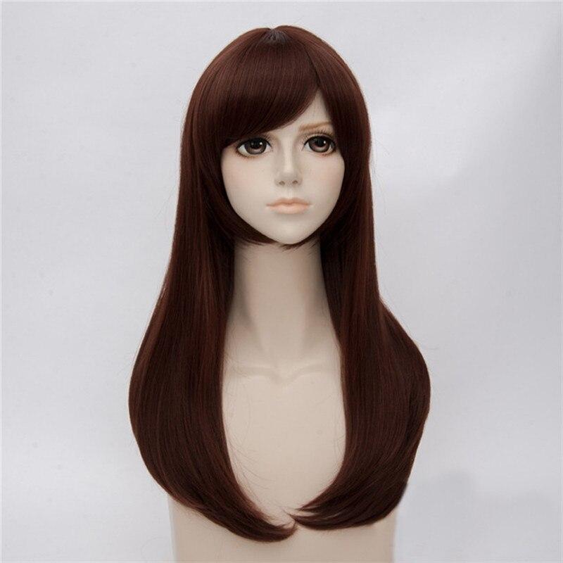 Dva d. va copslay peruca jogo ow traje cor marrom hana canção peruca peruca dva cosplay feminino 65 cm perucas