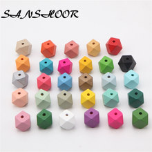 SANSHOOR 32Colors 20mm DIY Geometric Wooden Beads Rainbow Colors Fit Baby Teething Women Necklace Jewelry Christmas Gifts 30pcs(China)