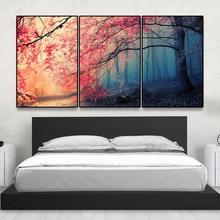 d8b9badfc2a 3 piezas ningún cartel imprime arte moderno pared de la lona para la sala  Cerezo imágenes decoración rojo árboles bosque pintura.
