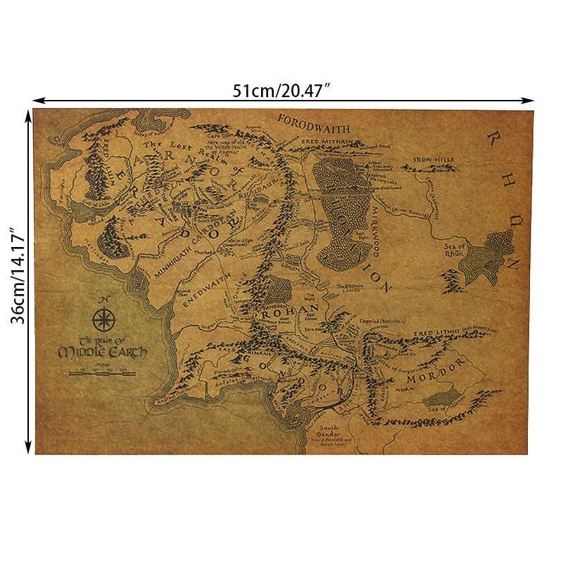 Lord Of The Rings The Hobbit Peta dari Middle-Earth Poster Film Cara Kuno Peta Kraft Kertas Gambar Perhiasan stiker Dinding