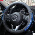 FIT FOR 2014 2015 MAZDA 3 BM AXELA STEERING WHEEL GLOVE COVER LEATHER BLUE SOFT LF
