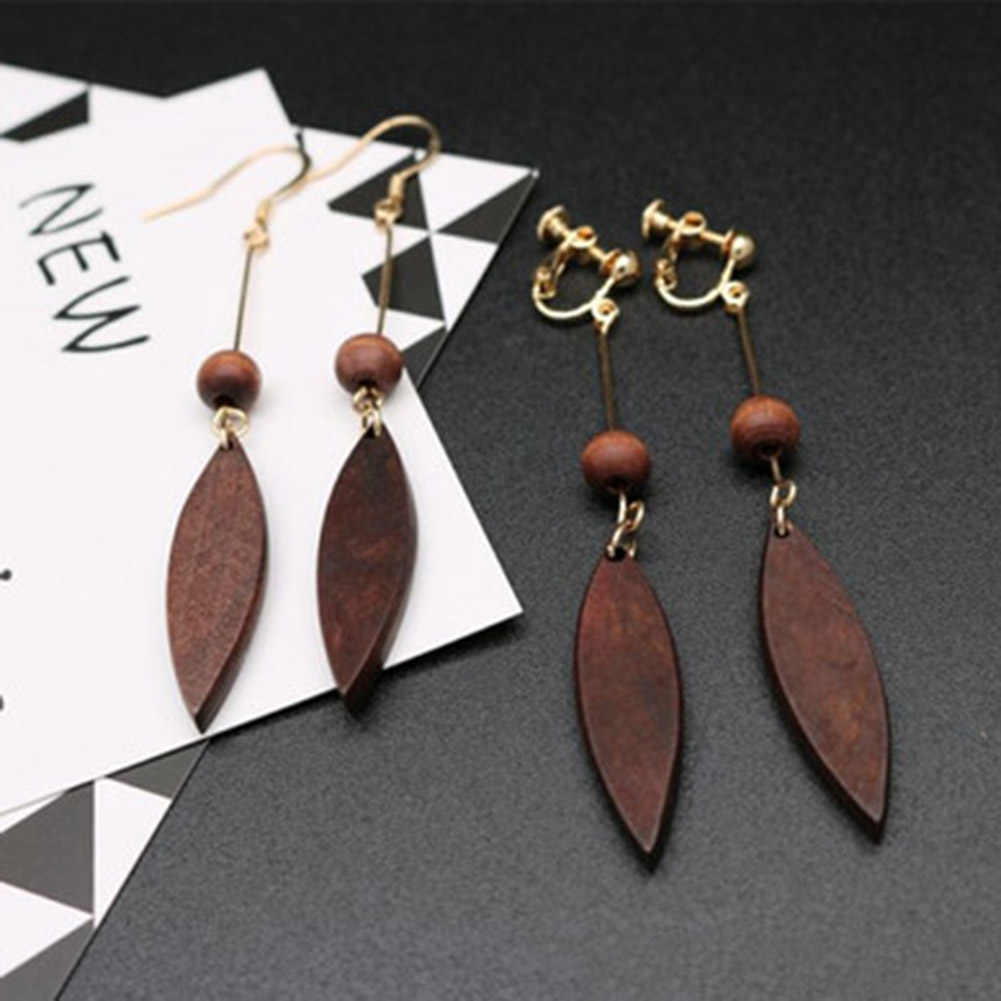 female round wood earrings fashion women New Jewelry wholesale Simple tassel fight feathers long earrings  1 Pair