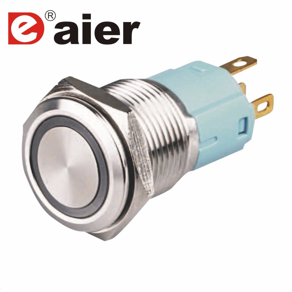 2 Pcs Rast Flache Taste 16 MM Wasserdichte Metall Push Button Schalter 2A 250VAC T85 <font><b>OFF</b></font>/<font><b>ON</b></font> Schalter SPST mit 12 V/220 V <font><b>LED</b></font> Licht image