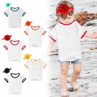 2017 Casual Kids Girls T Shirt Kids White T Shirt Headband Set Children Tops Tees Summer