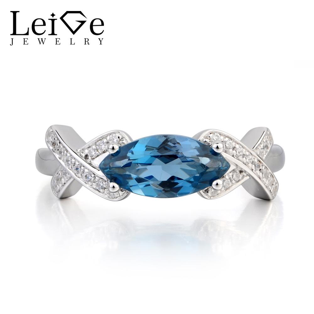 Marquise Shape London Blue Topaz Gemstone 925 Sterling Silver Ring,London Blue Topaz Band,Topaz Gemstone Band,December Birthstone Bands