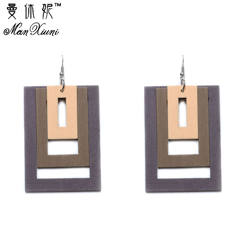 2017 Fashion Bohemian Women Earrings Women s Hollow Square Wooden Dangle Earrings Jewelry Drop Boho Style