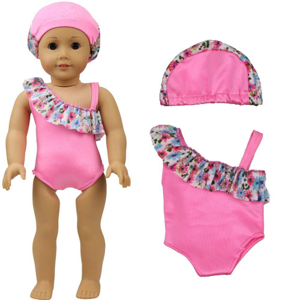 """Pink Clothes For 18"""" Girl Doll Bikini + Cap summer Swimming Suit With Hat as for 18inch 43cm baby dolls toy"""