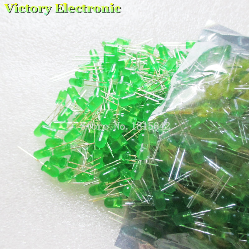 New Fashion 200pcs/lot 5mm Green Led Diode Round Diffused Green Color Light Lamp F5 Dip Highlight New Wholesale Electronic Active Components Diodes