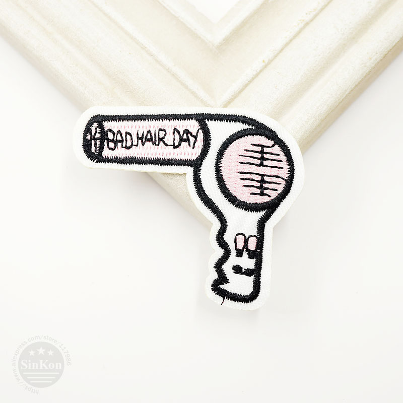 Hair dryer Size:5.5x6.2cm Patches Badge Iron On Embroidery Patch Badges Applique Clothes Clothing Sewing Supplies Decorative|badge iron|iron on embroidery patchesiron on - AliExpress