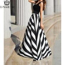 Women Summer Dress Sexy Striped Print Long Dress Sleeveless