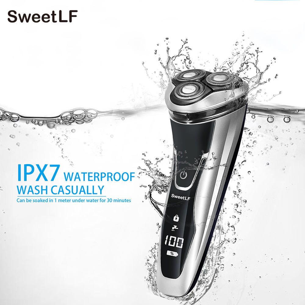 SweetLF Rechargeable Electric Shaver 100-240V Waterproof 3D Triple Floating Blade Heads Shaving Razors Face Care Men Beard Hot rechargeable rotary razor 3d floating independent electric shaver for men face care triple blade shaving with waterproof heads