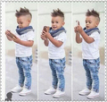 2016 summer boys denim clothing sets kids boys handsome short-sleeved T-shirt+denim jeans+scarf 3 pieces children clothing set