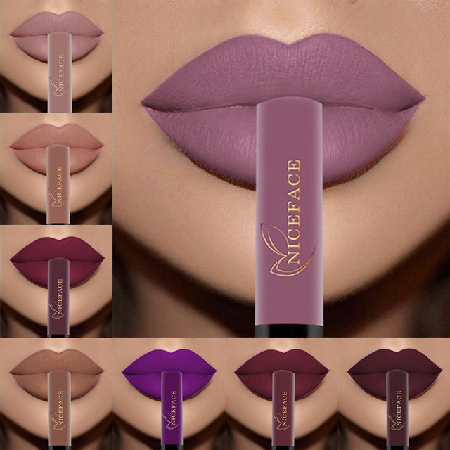NICEFACE brillo de labios 34 colores Nude Mate líquido lápiz labial Mate impermeable de larga duración hidratante labios brillo maquillaje cosméticos