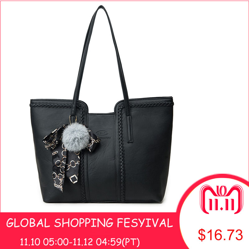 Women Casual Handbag 2018 Female Large Capacity Tote Bag High Quality PU Leather Shoulder Messenger Bags Handbags With Fur Ball women fur handbags 2018 high quality printing women bags women pu leather shoulder messenger bags sweet tote bag bolsa lb340