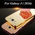 Chapeamento de luxo quadro de alumínio + acrílico espelho telefone case para samsung galaxy j120 J1 mini J3 J5 J7 Prime 2016 J510 J710 Tampa Traseira