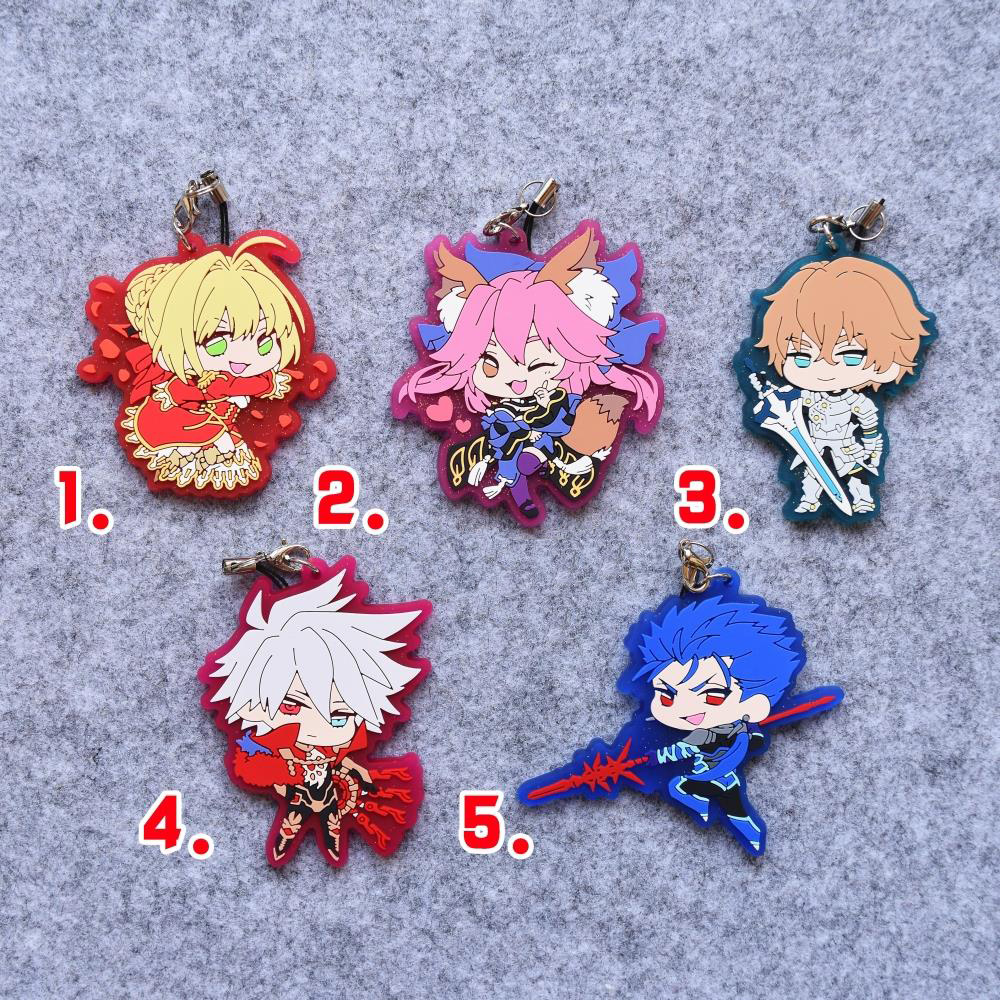 Fate EXTELLA Fate Grand Order Anime Tamamo no Mae Nero Gawain Setanta Karna Japanese Rubber Keychain