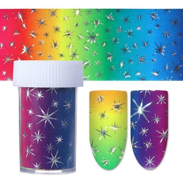 4*100 cm Gradiente Estrella Estrellada Nail Foil Nail Art Transferencia Etiqueta Engomada Colorida Manicura Consejos Decoración 1 Rollo