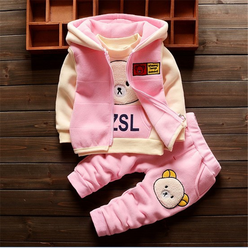 BibiCola baby clothing sets children cartoon bear winter cotton fleece wool suit warm thicken 3 pcs set baby boys girls set paul frank baby boys supper julius fleece hoodie
