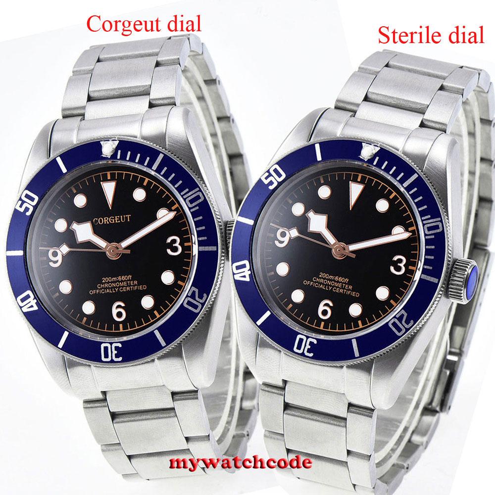 купить corgeut black dial luminous Sapphire crystal miyota 8215 automatic mens Watch по цене 8578.56 рублей
